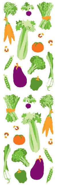 Vegetables, stickers, Mrs. Grossman's Sticker Factory