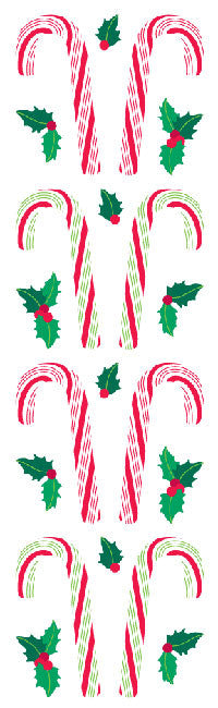 Candy Canes, sticker, Mrs. Grossman's Stickers