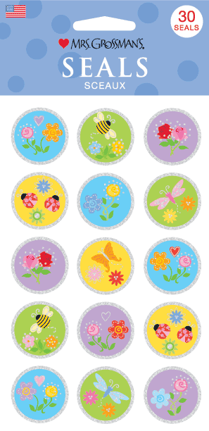 Flower Seals, sticker, Mrs. Grossman's stickers