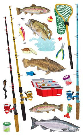 Fishing , sticker, Mrs. Grossman's Stickers