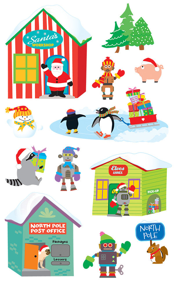santa's village, stickers, Mrs. Grossman's Sticker Factory