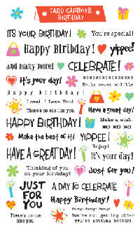 Card Captions, Birthday, sticker, Mrs. Grossman's Stickers