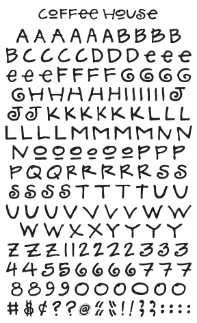 Coffee House Alphabet, black