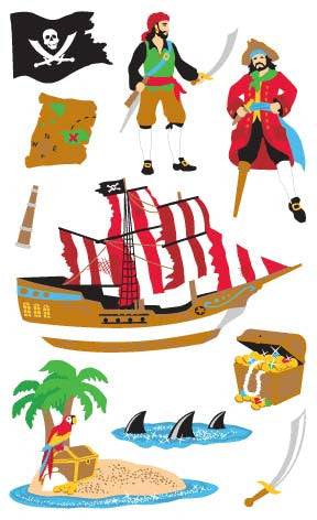 Pirates, sticker, Mrs. Grossman's Stickers