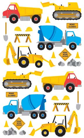 Construction Equipment, sticker, Mrs. Grossman's Stickers