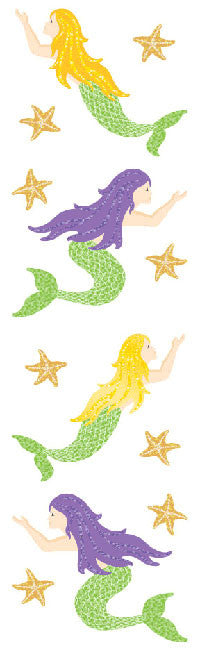 Mermaid, Sparkle, stickers, Mrs. Grossman's Sticker Factory