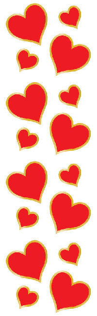 Sm. Red & Gold Hearts, stickers, Mrs. Grossman's Sticker Factory