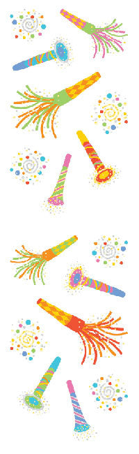 Magical Party Blowers, stickers, Mrs. Grossman's Sticker Factory