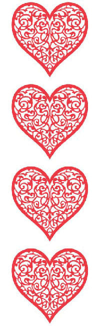 Red Brocade Heart, stickers, Mrs. Grossman's Sticker Factory