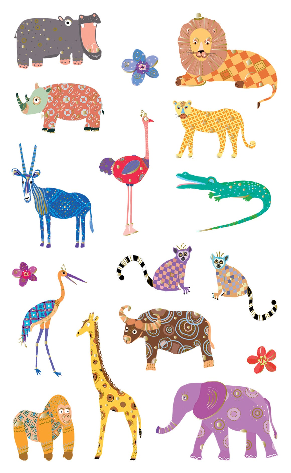 Turnowsky, spectacular safari animals, stickers, Mrs. Grossman's Sticker Factory
