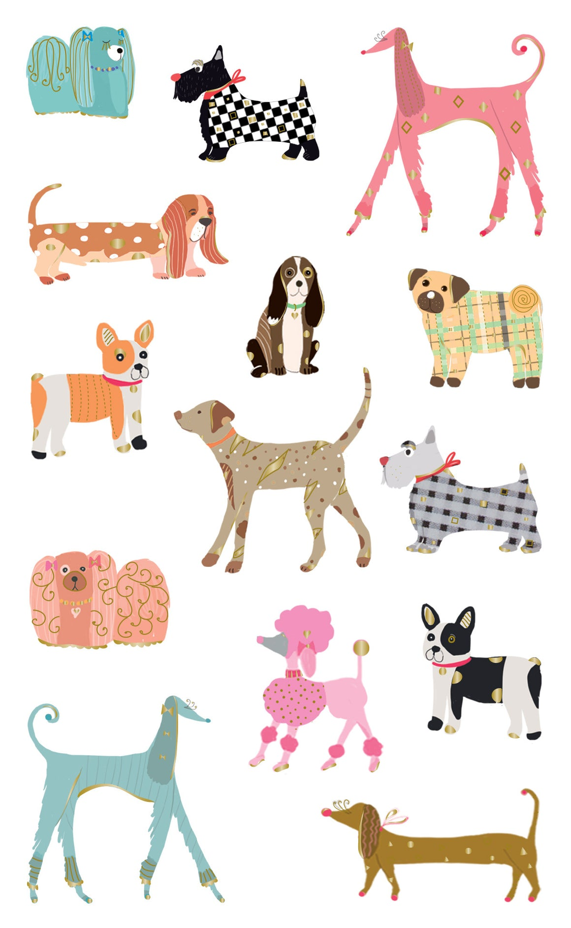 Turnowsky, chic dogs, stickers, Mrs. Grossman's Sticker Factory