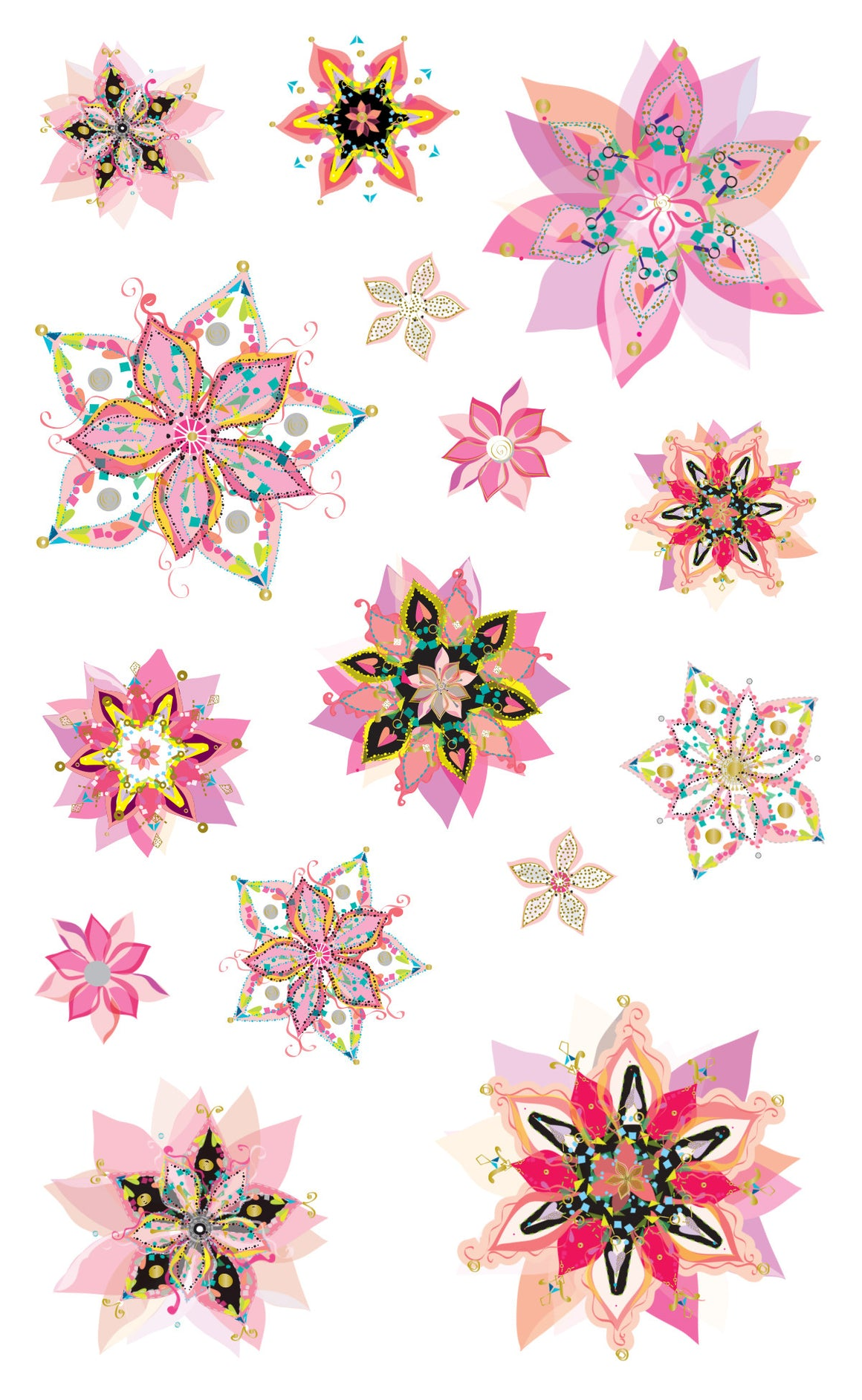 Turnowsky, flower fancy, stickers, Mrs. Grossman's Sticker Factory