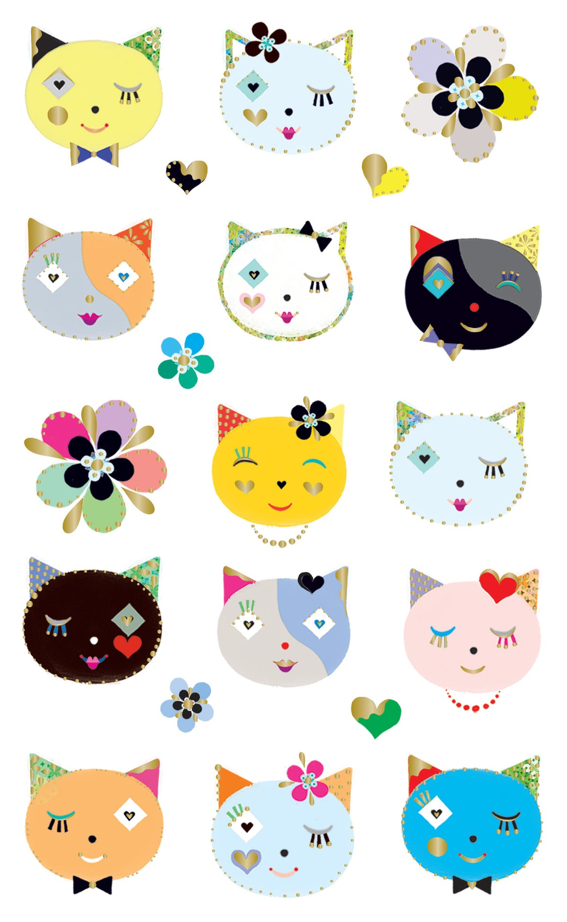 Turnowsky, cats frilly faces, stickers, Mrs. Grossman's Sticker Factory