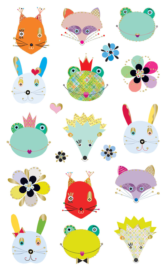 Turnowsky woodland frilly faces, stickers, Mrs. Grossman's Sticker Factory