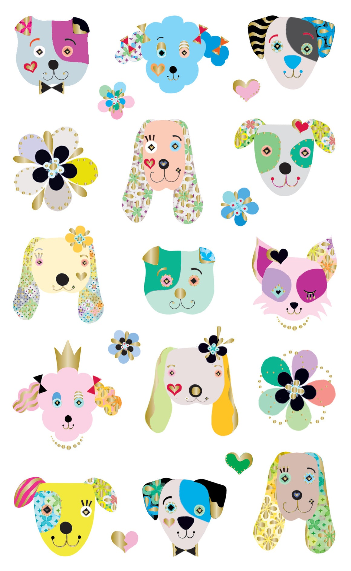 Turnowsky, dogs frilly faces, stickers, Mrs. Grossman's Sticker Factory