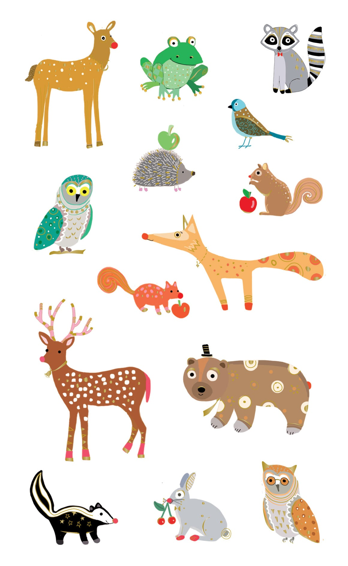 Turnowsky woodland animals, stickers, Mrs. Grossman's Sticker Factory