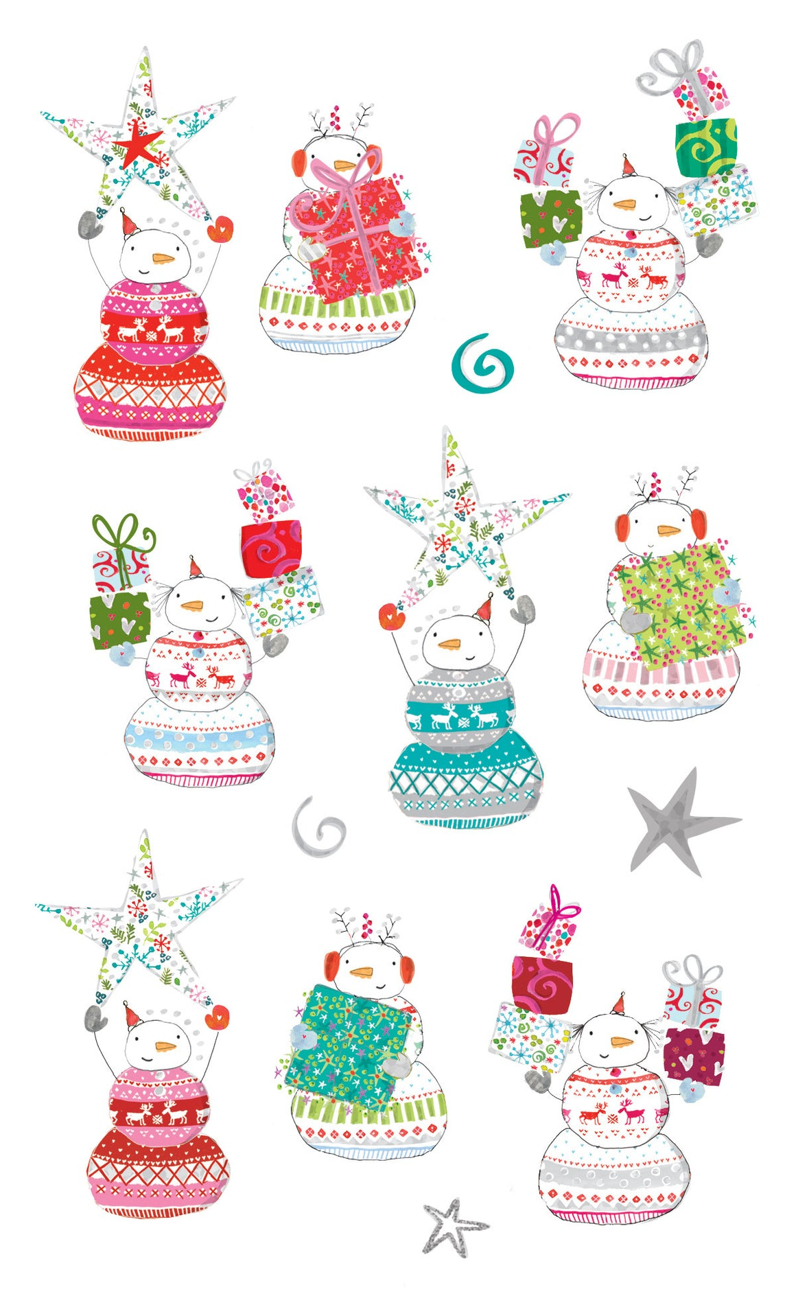 Turnowsky Starry Snowmen, stickers, Mrs. Grossman's Sticker Factory