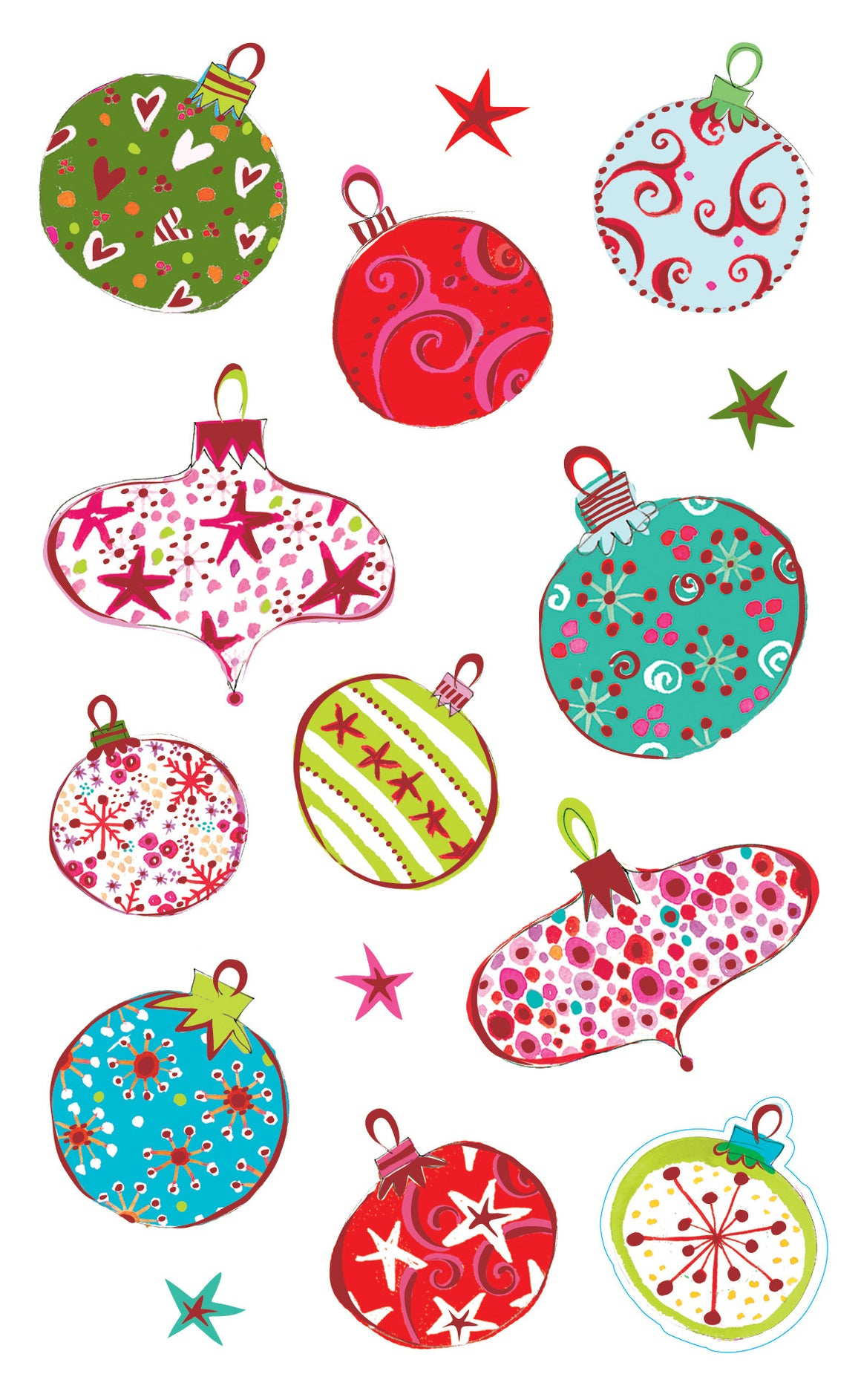 Turnowsky merry ornaments, stickers, Mrs. Grossman's Sticker Factory