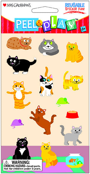 "Peel & Play 4"" Strip-Cats Stickers - Mrs. Grossman's"