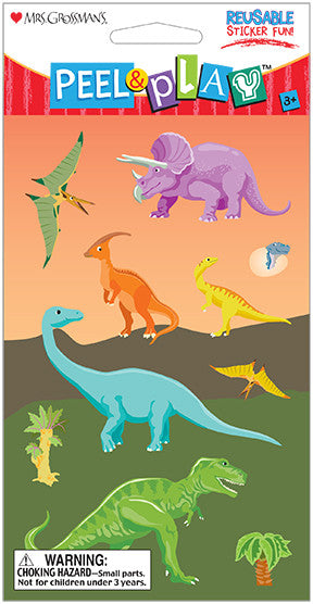 "Peel & Play 4"" Strip-Dinosaurs Stickers - Mrs. Grossman's"