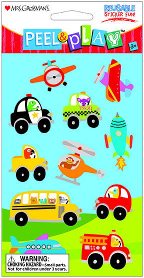 "Peel & Play 4"" Strip-Transportation Stickers - Mrs. Grossman's"