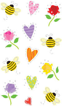 Hearts & Bees, petite , sticker, Mrs. Grossman's stickers
