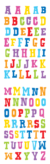 block alphabet, sticker, Mrs. Grossman's Stickers