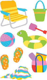 Day at the Beach Stickers - Mrs. Grossman's