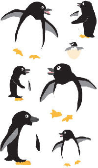 Playful Penguins, sticker, Mrs. Grossman's Stickers