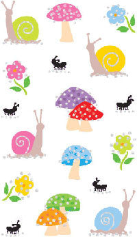 Snails & Mushrooms, petite, stickers, Mrs. Grossman's Sticker Factory