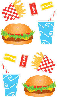 Burger & Fries, sticker, Mrs. Grossman's Stickers