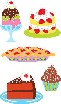 Reflections Sheet of Gold Outlined Desserts Stickers Mrs Grossman DESSERTS