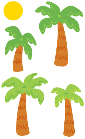 Palm Trees & Sun, stickers, Mrs. Grossman's Sticker Factory