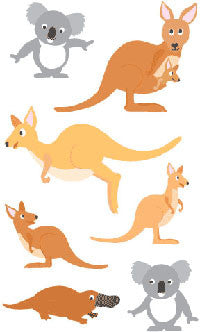 Playful Kangaroo Pals, sticker, Mrs. Grossman's Stickers