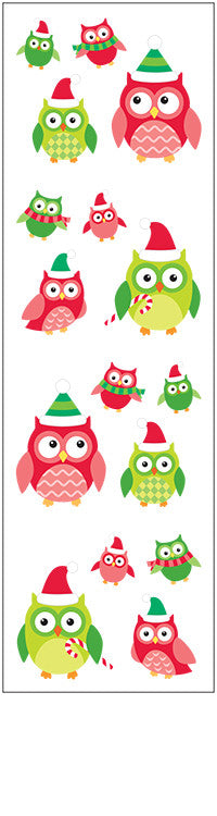 Christmas owls, sticker, Mrs. Grossman's Stickers