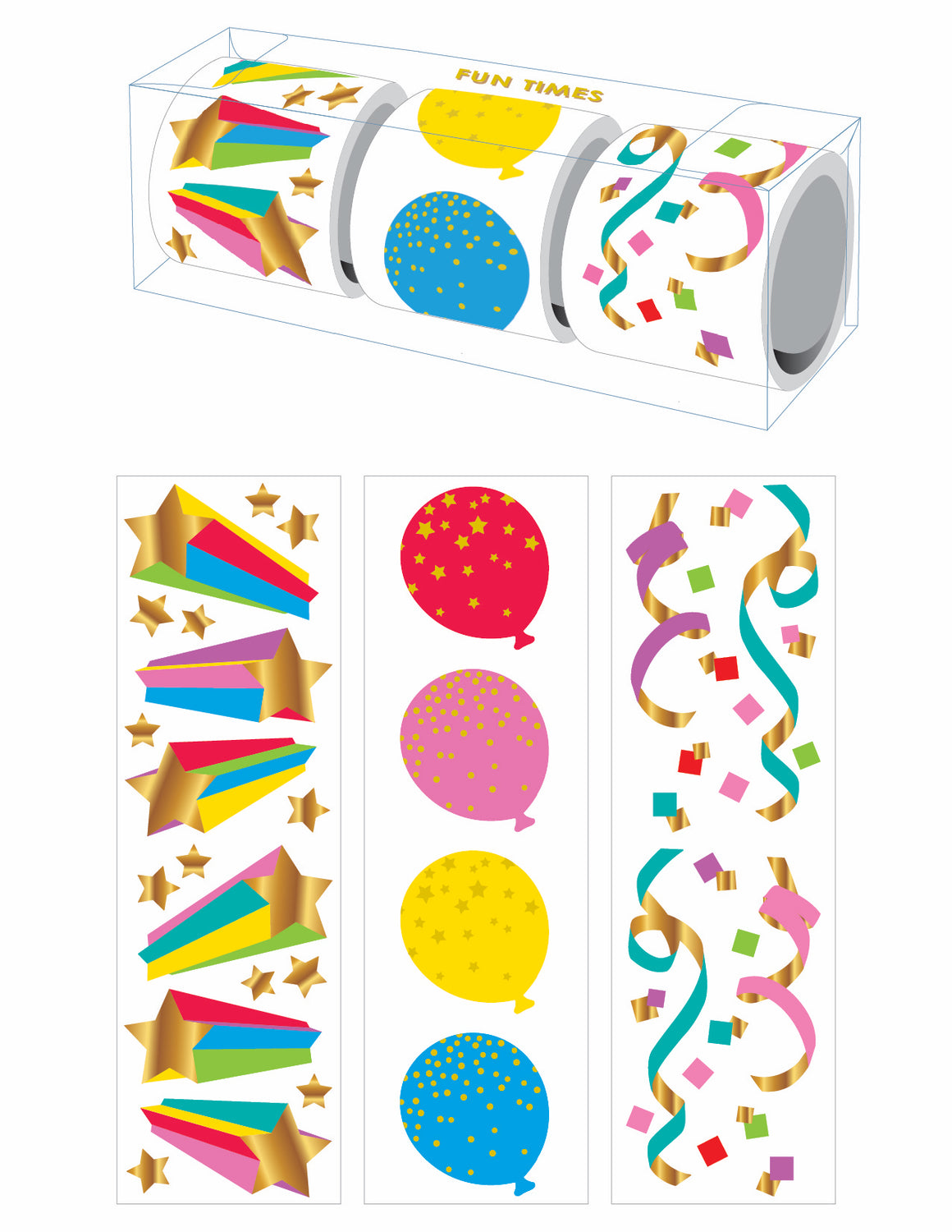 Fun Times Three-Roll Sticker Gift Box - Mrs. Grossman's