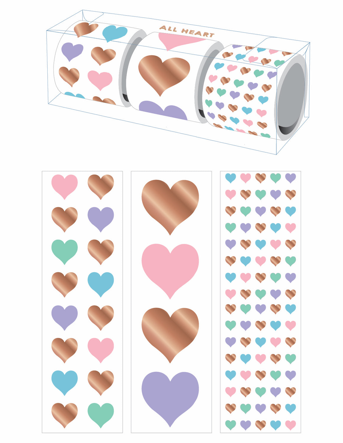 All Heart Three-Roll Sticker Gift Box - Mrs. Grossman's