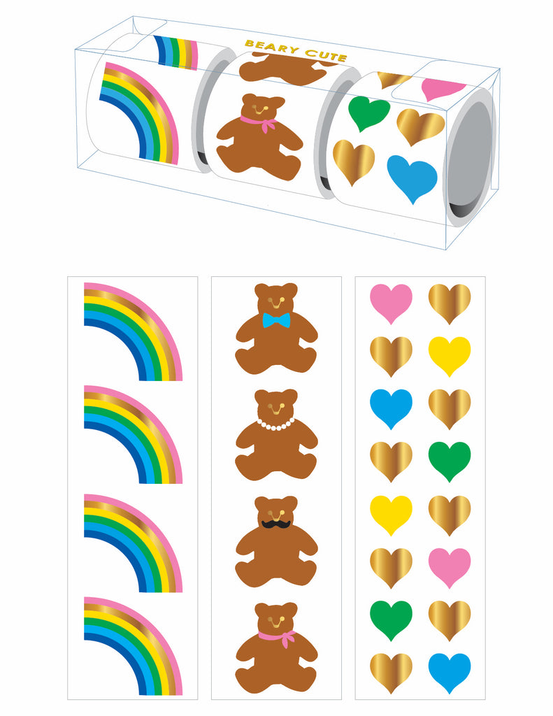 Beary Cute Three-Roll Sticker Gift Box - Mrs. Grossman's