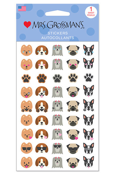 dog emotions, sticker, Mrs. Grossman's Stickers