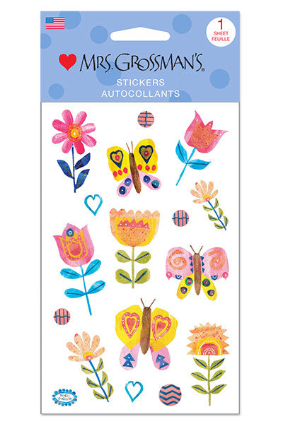 collaged butterflies and blooms, Stickers, Mrs. Grossman's Stickers