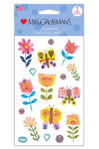 Collaged Butterflies and Blooms
