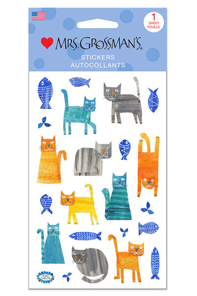 collaged cats, Stickers, Mrs. Grossman's Stickers