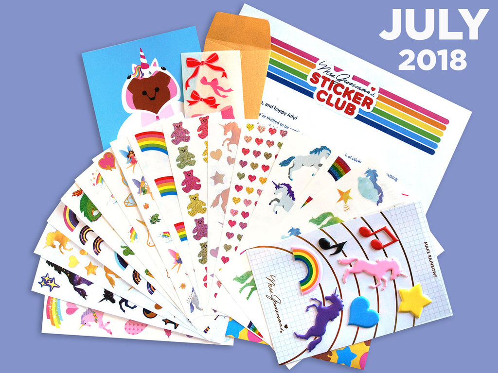 July Sticker Club Pack - Unicorns and Rainbows - Mrs. Grossman's