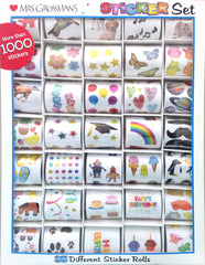 Super Big Sticker Keeper! Sticker kit containing: cat, dog, puppy, music, flower, star, butterfly, owl, balloon, horse, heart, planet, all, fruit, rainbow, mustache, robot, penguin, birthday, cupcake, paw print