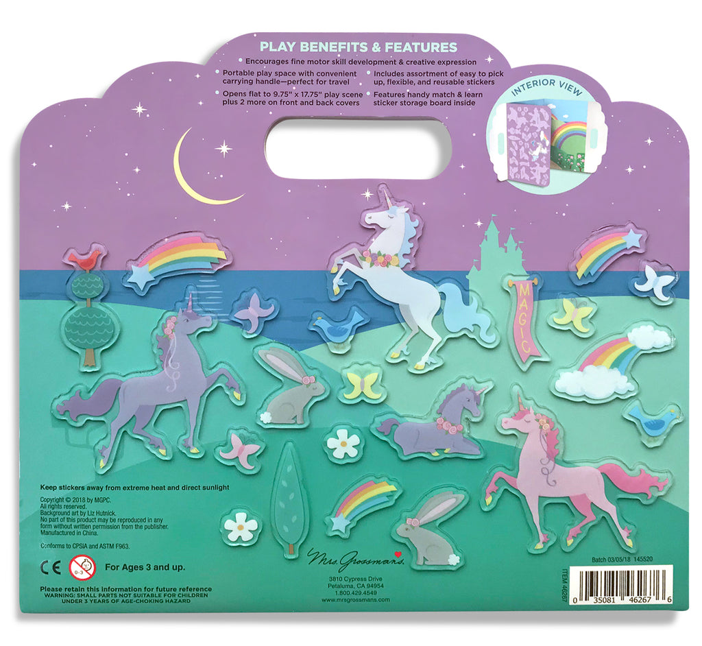 Unicornia Peel & Play Activity Set featuring Pastel Unicorns - Mrs. Grossman's