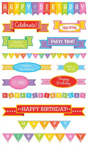 birthday banners, sticker, Mrs. Grossman's Stickers