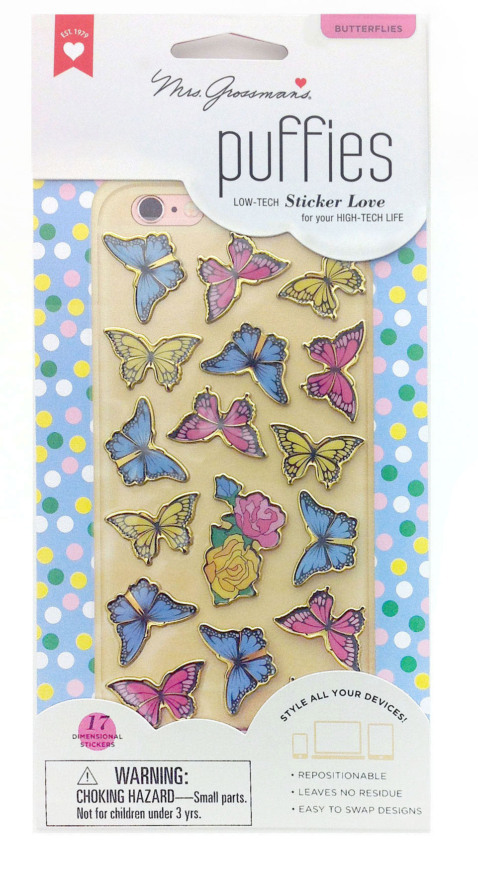 Butterflies Puffies, sticker, Mrs. Grossman's Stickers