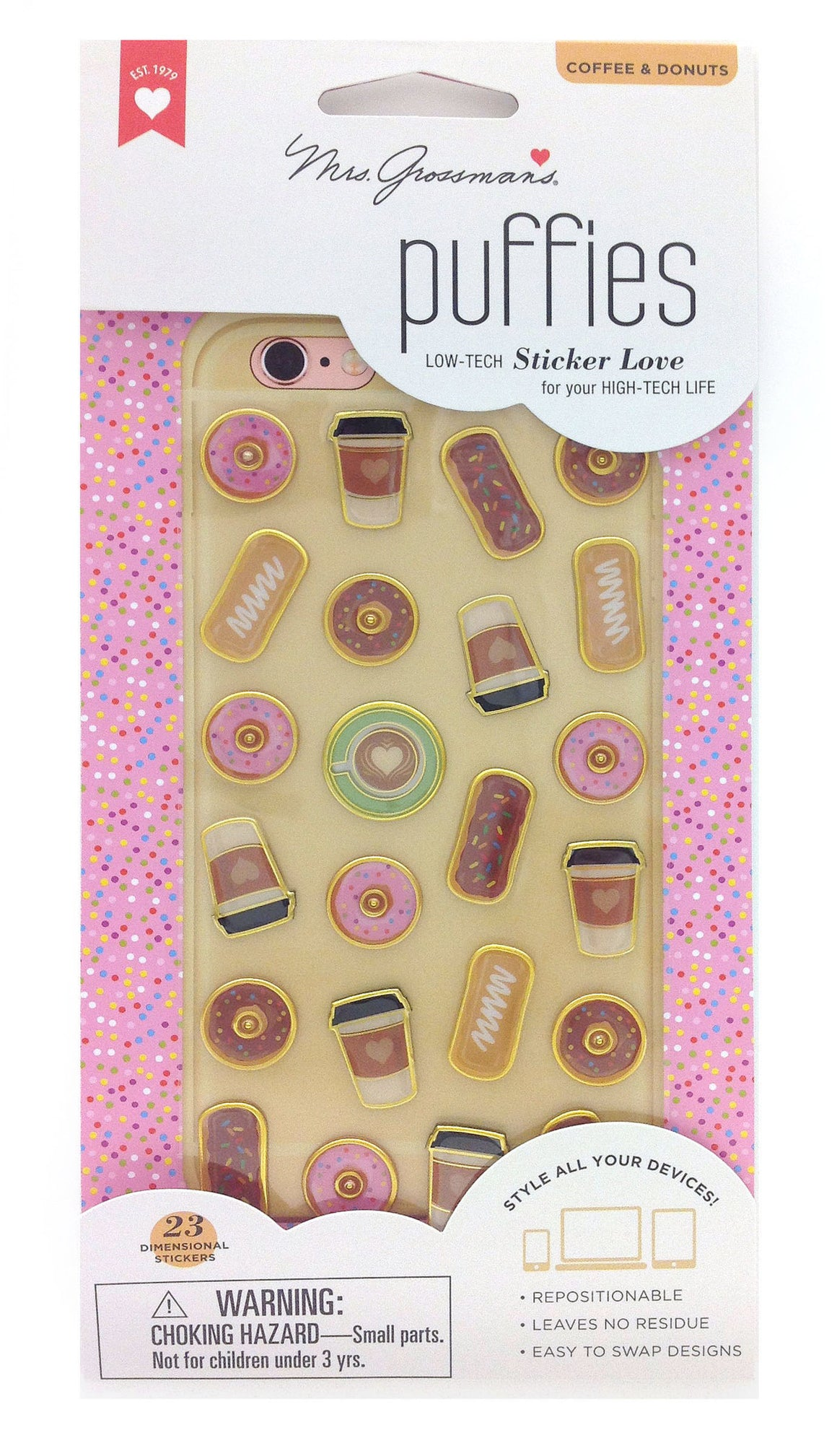 Donut & Coffee, Puffies, Stickers, Mrs. Grossman's Stickers, phone accessories