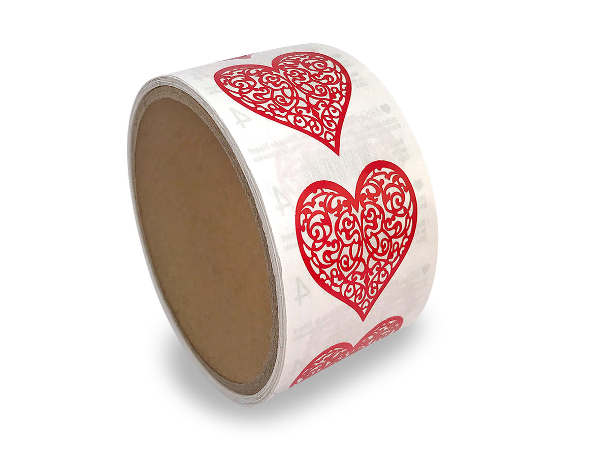 Red Brocade Heart Sticker Roll