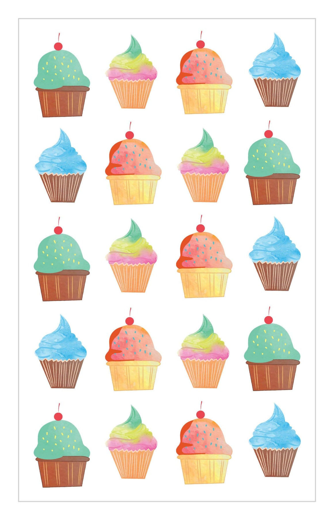 Watercolor Cupcakes Stickers - Mrs. Grossman's